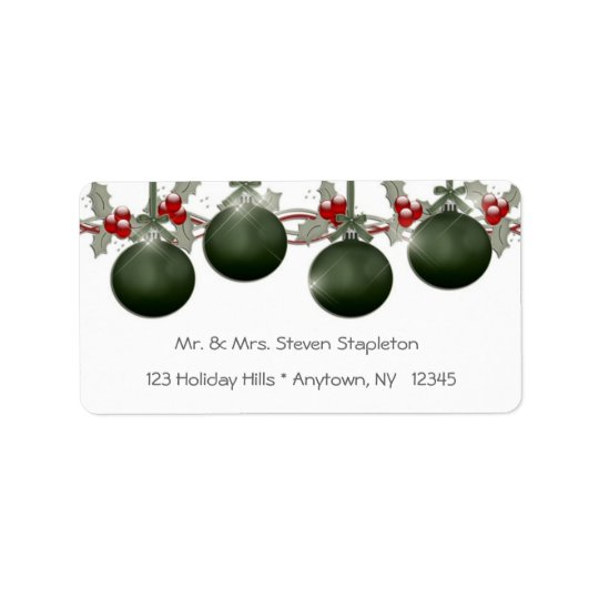 Green Holly Ornaments Address Label