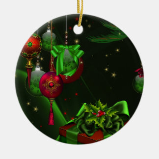 Green Holly Red Ornaments Green Christmas Ornament
