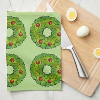Green Holly Wreath Christmas Cookie Cookies Towel