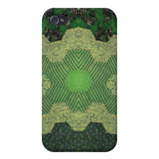 Green Homespun Lacy Camouflage Quilt iPhone 4 Cases