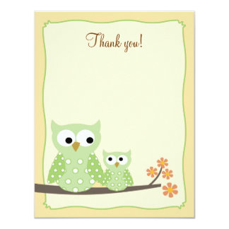Green Hoot Owls 4x5 Flat Thank you note 11 Cm X 14 Cm Invitation Card