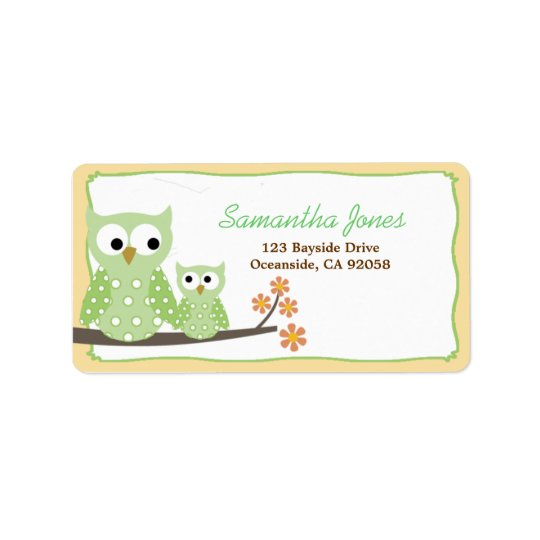 Green Hoot Owls Baby Shower Address Label