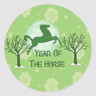 Green Horse and Moon Round Sticker