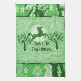 Green Horse And Moon Towel