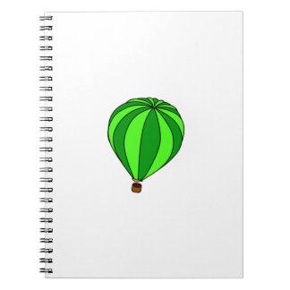 Green Hot Air Ballon Cartoon Notebooks