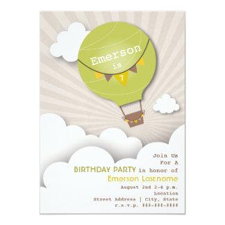 """Green Hot Air Balloon & Clouds Kids' Birthday 5"""" X 7"""" Invitation Card"""