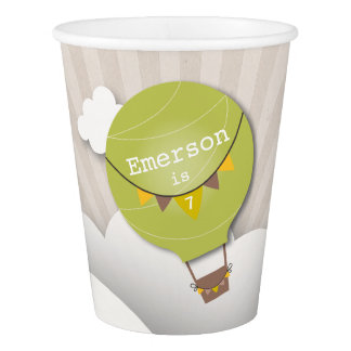 Green Hot Air Balloon Kids Birthday Party Cups