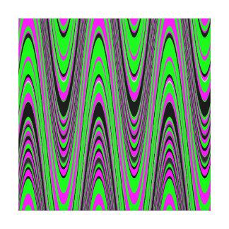 Green Hot Pink Black Modern Geometric Wave Stretched Canvas Prints