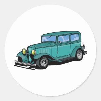 Green Hot Rod Classic Round Sticker