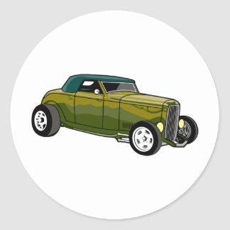 Green Hot Rod Convertible Round Sticker
