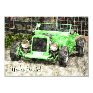 Green Hotrod Vintage Classic Car Painted Style 13 Cm X 18 Cm Invitation Card