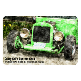 Green Hotrod Vintage Classic Car Painted Style Rectangular Photo Magnet