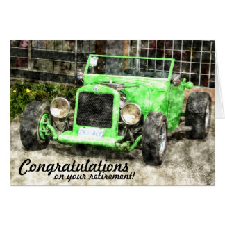 Green Hotrod Vintage Classic Car Painted Style Greeting Card