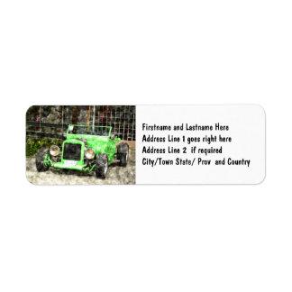 Green Hotrod Vintage Classic Car Painted Style Return Address Label