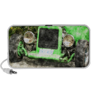 Green Hotrod Vintage Classic Car Painted Style Mini Speakers
