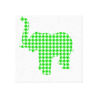 Green Houndstooth Elephant Stretched Canvas Print