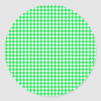 Green Houndstooth Pattern Round Stickers
