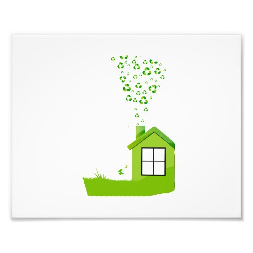 green house with recycle sign smoke eco design.png photo