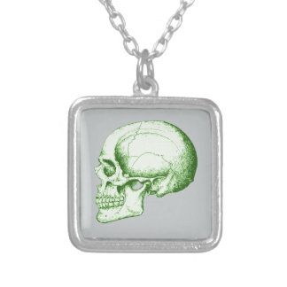 Green Human Skull Square Pendant Necklace
