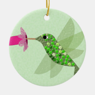 Green Hummingbird Christmas Ornament