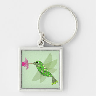 Green Hummingbird Silver-Colored Square Key Ring