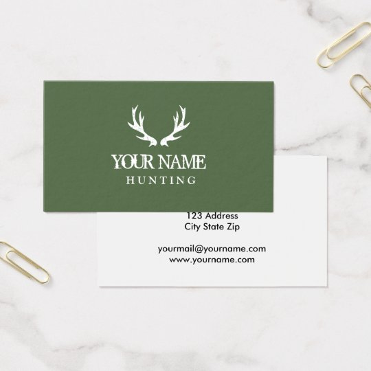 Green hunting deer antler business card template