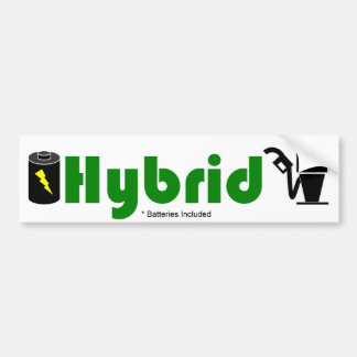 Green HYBRID battery and pump Bumper Sticker