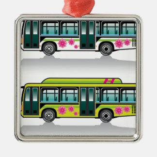 Green Hybrid Bus vector Christmas Ornament