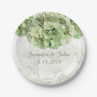 Green Hydrangea Wedding Collection Paper Plate 7 Inch Paper Plate