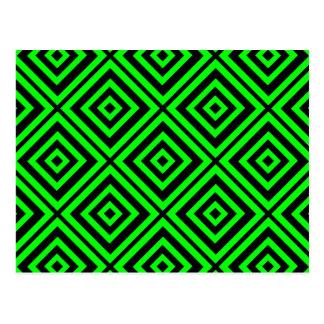 Green hypnotic geometry postcard