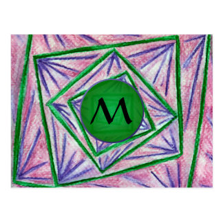 Green Hypnotic Squares with Green Monogram Postcard