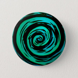 Green Hypnotic Swirl Art 6 Cm Round Badge