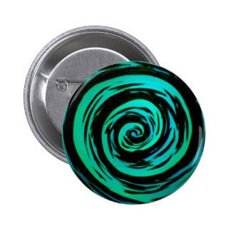 Green Hypnotic Swirl Art 6 Cm Round Badge