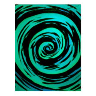 Green Hypnotic Swirl Art Postcard