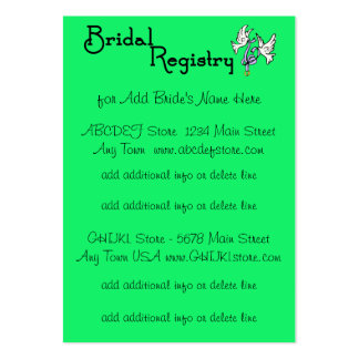 Green  I DO - Customizable Bridal Registry Cards Pack Of Chubby Business Cards