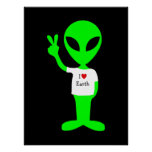 "Green ""I Love Earth"" Alien Poster"