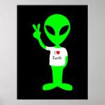 "Green ""I Love Earth"" Alien Print"