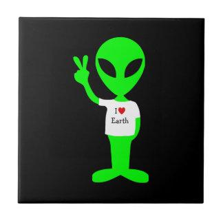 """Green """"I Love Earth"""" Alien Tile"""