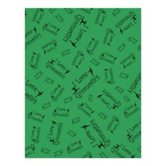 Green I love gymnastics Personalized Flyer