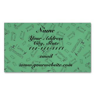 Green I love gymnastics Magnetic Business Cards