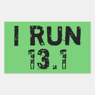 Green I Run 13.1 Sticker