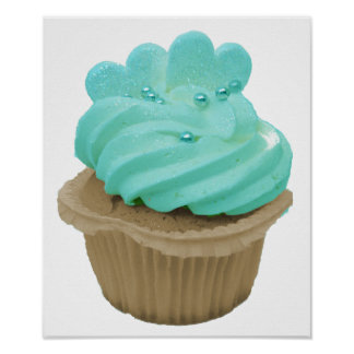 Green Icing Cupcake with Hearts Poster