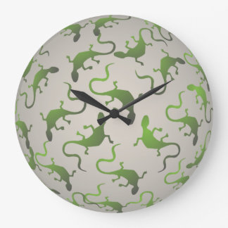 Green Iguana Pattern Wall Clock
