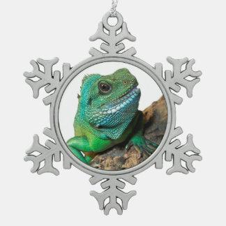Green iguana pewter snowflake decoration