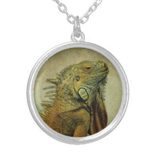 Green Iguana Round Pendant Necklace