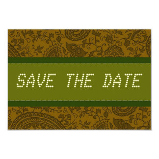 Green Indian Damask Hearts telegram Save the date 9 Cm X 13 Cm Invitation Card