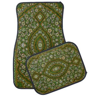 Green Indian Floral Rug Look Car Mat Set