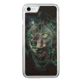 Green indian wolf carved iPhone 8/7 case