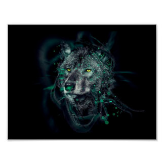 Green indian wolf poster