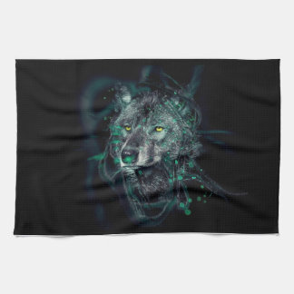 Green indian wolf tea towel